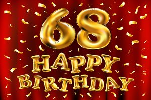 happy birthday 68 balloons gold
