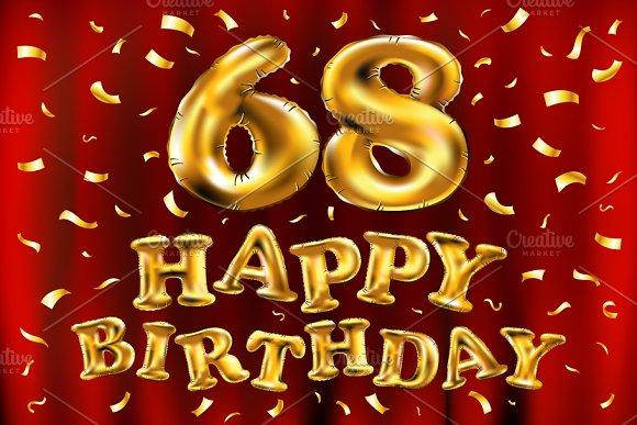 Happy Birthday 68 Balloons Gold