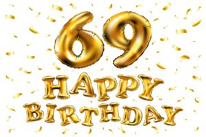 happy birthday 69 balloons gold