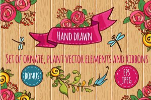 Hand Drawn floral set
