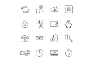 Finance outline icon set
