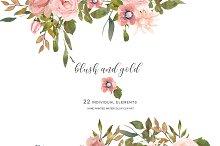 Watercolor Blush Flowers
