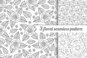 3 floral vector seamless pattern