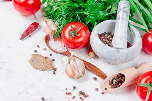cherry tomatoes, parsley and spices