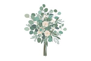 Wedding bouquet with rose flowers, seeded and silver dollar eucalyptus greenery.