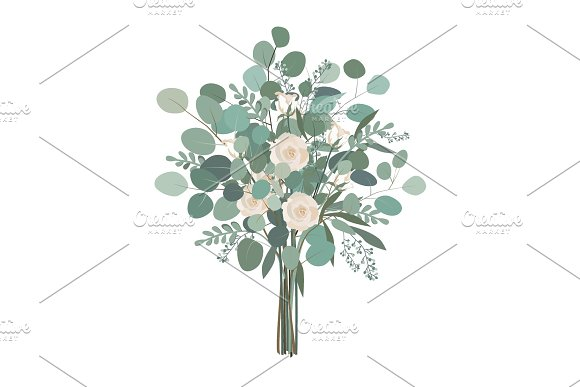 Wedding Bouquet With Rose Flowers Seeded And Silver Dollar Eucalyptus Greenery