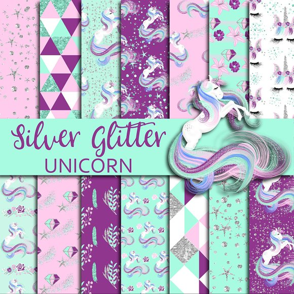Silver Glitter Unicorn Digital Paper