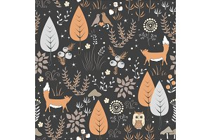 Seamless Pattern with Flowers, Foxes and Mushrooms.