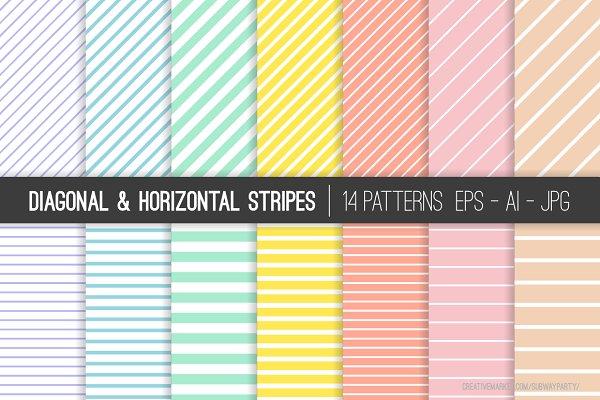 Vector Pastel Stripes Patterns