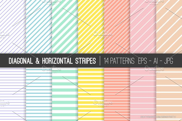 Vector Pastel Stripes Patterns
