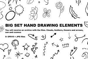 Big set of hand-drawing elements
