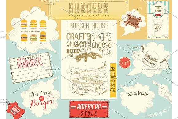 Template Menu Placemat For Burger