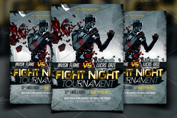 fight flyer template flyer templates creative market