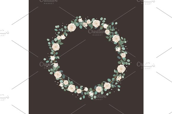 White Rose Flowers And Silver Dollar Eucalyptus Garland Elegant Round Wreath Greeting Wedding Invite Template Round Frame Border