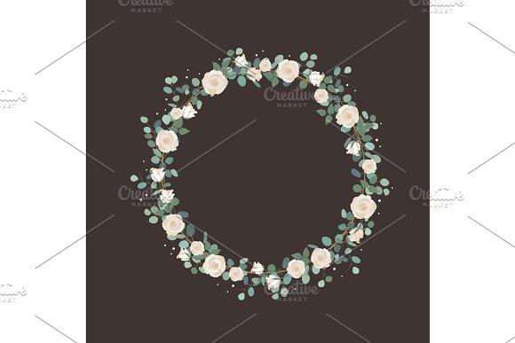White Rose Flowers And Silver Dollar Eucalyptus Garland Elegant Round Wreath Greeting Wedding Invite Template Round Frame Border