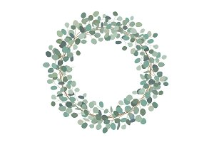 Round wreath with silver dollar eucalyptus. Healing Herbs for cards, wedding invitation, posters, save the date or greeting design.