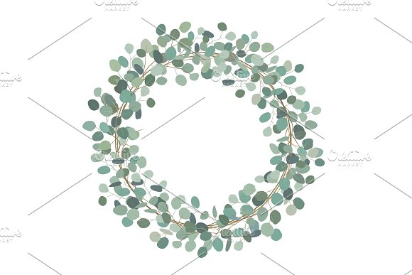 Round Wreath With Silver Dollar Eucalyptus Healing Herbs For Cards Wedding Invitation Posters Save The Date Or Greeting Design