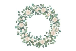 White Rose flowers and silver dollar Eucalyptus garland, round wreath. Greeting, wedding invite template. Round frame border with Save the date text