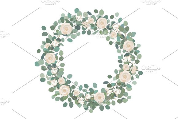 White Rose Flowers And Silver Dollar Eucalyptus Garland Round Wreath Greeting Wedding Invite Template Round Frame Border With Save The Date Text