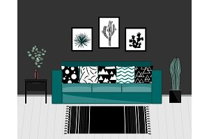 Scandinavian style livingroom interior with black and white carpet, blue sofa with ornamented pillows, home plants, and dark grey wall.