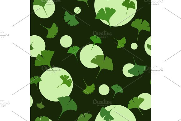 Ginkgo Seamless Pattern On Dark Background With Cute Circles