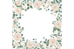 White Rose flowers and silver dollar Eucalyptus frame. Greeting, wedding invite template. Square frame border with place for text.