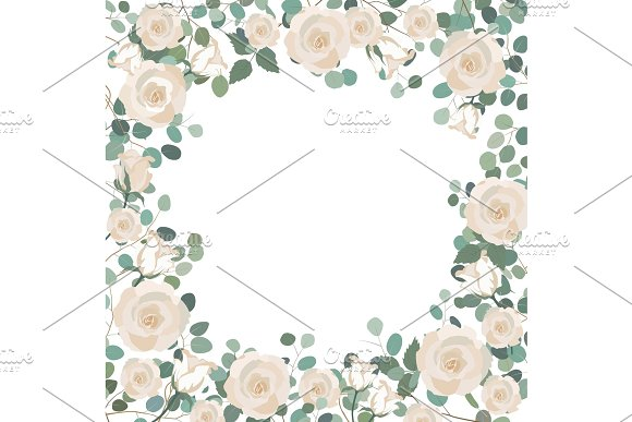White Rose Flowers And Silver Dollar Eucalyptus Frame Greeting Wedding Invite Template Square Frame Border With Place For Text