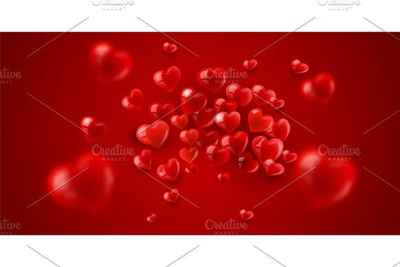 Love Background With Red Hearts