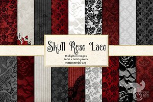 Skull Rose Lace Digital Paper