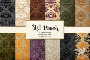 Damask Skull Digital Paper