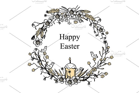 Greeting Card For Easter With Floral Wreath With Egg Bird Easter Cake And Brunches Hand Drawn Vintage Background Vector
