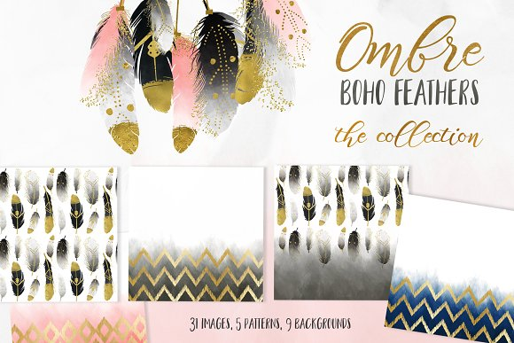 20% Off Ombre Boho Feathers