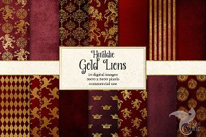 Red & Gold Heraldic Lion Backgrounds