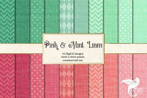 Pink and Mint Linen Digital Paper