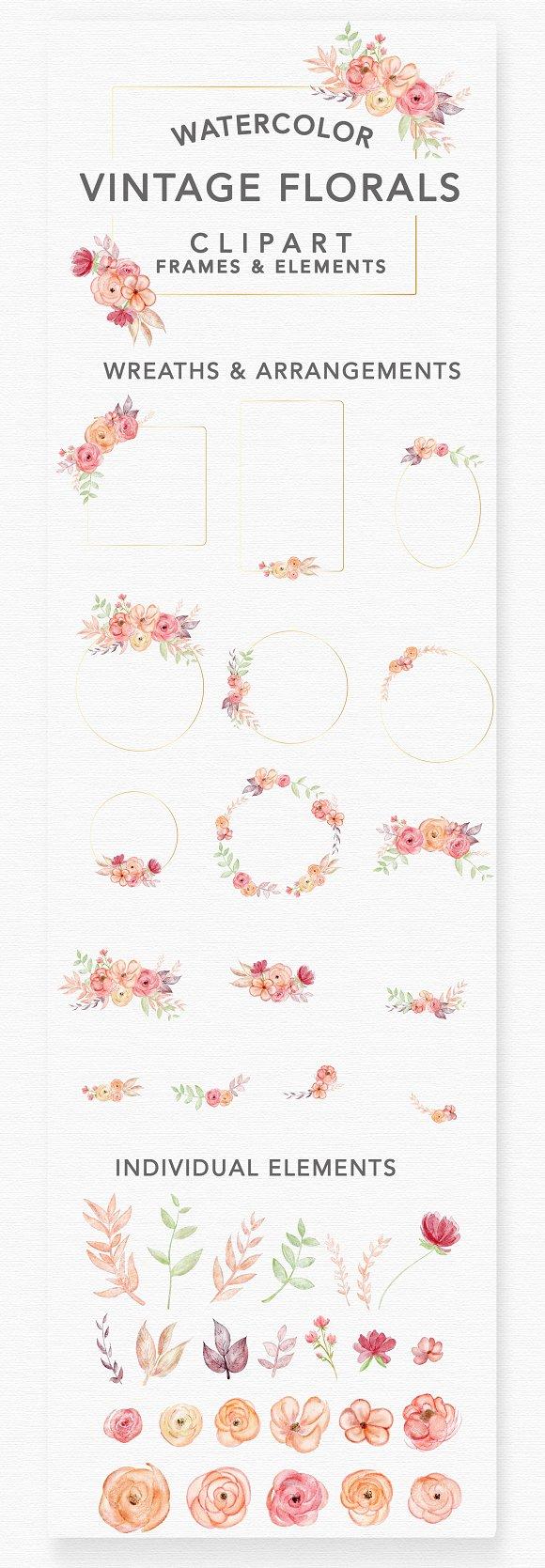 Vintage Romantic Florals Frames
