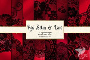 Red Satin and Black Lace Backgrounds