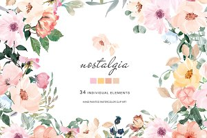 Hand Painted Watercolor Blush Floral