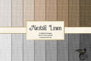 Neutral Linen Texture Digital Paper
