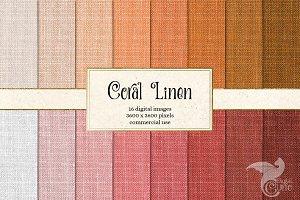 Coral Linen Digital Paper Textures