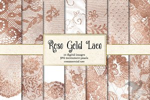 Rose Gold Lace Digital Paper
