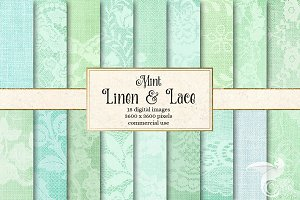 Mint Lace Digital Paper