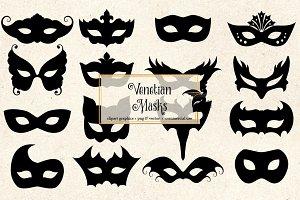 Venetian Mask Silhouette Clipart