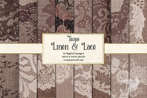 Taupe Linen and Lace Digital Paper