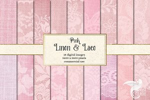 Pink Linen and Lace Digital Paper