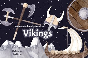Vikings Watercolor Clipart Painted