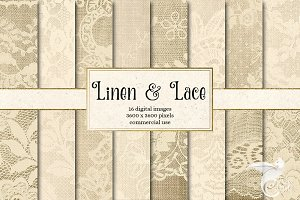 Linen and Lace Digital Paper