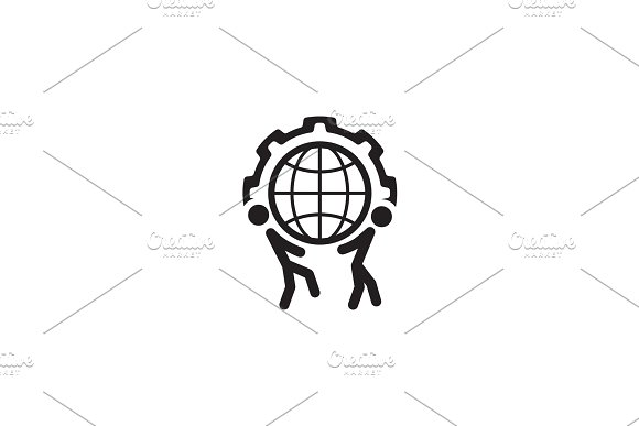 Global Support Icon Flat Design