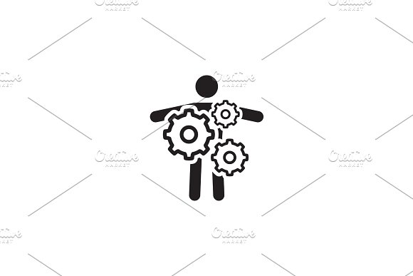 Key Person Icon Business Concept Flat Design
