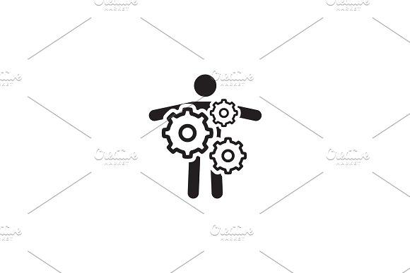 Key Person Icon Business Concept Flat Design
