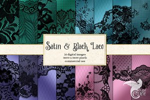 Satin and Black Lace Digital Papers